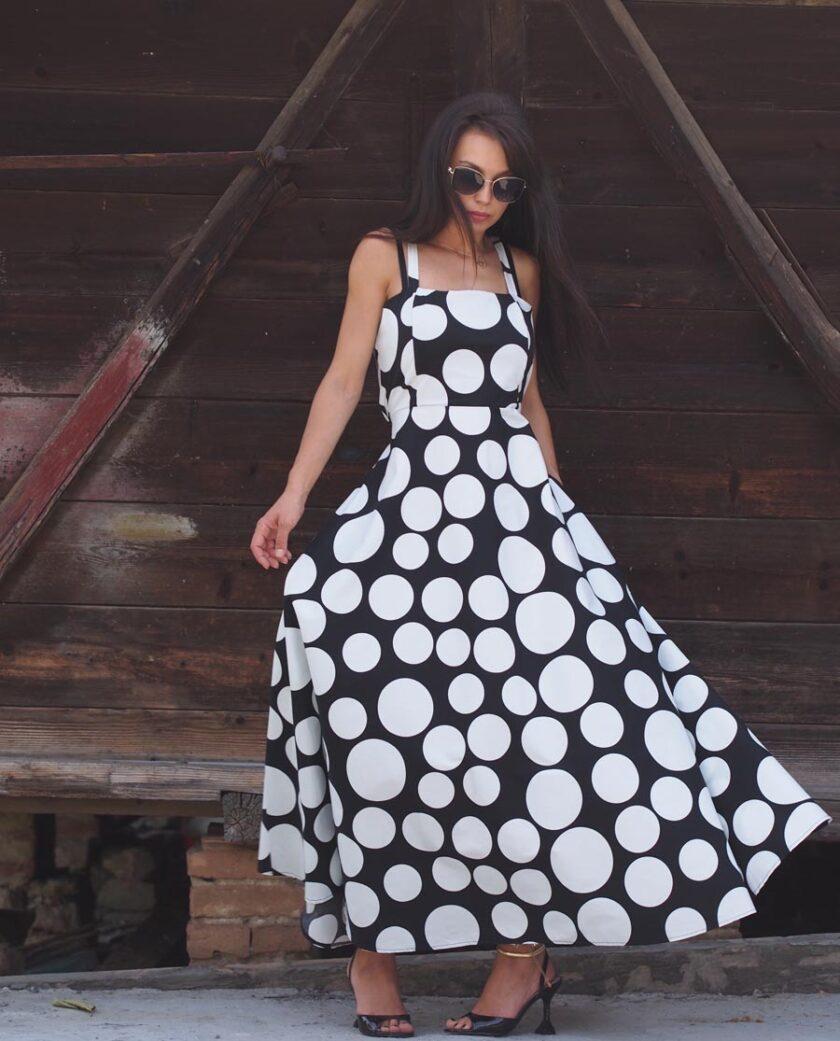 Дълга Ефирна Рокля на точки , Дълга дамска рокля, Лятна дамска рокля